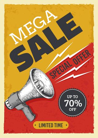 Sale megaphone poster. Vintage bullhorn with sale banner, news and ads grunge flyer concept. Vector illustration alert and attention concept announcements market price discount billboard