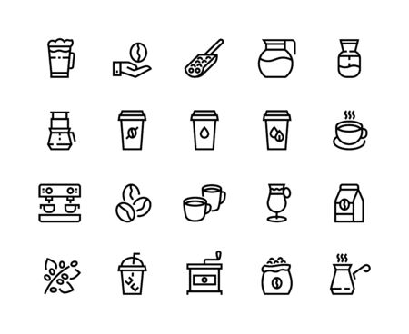 Coffee line icons. Cup with latte, cappuccino mug and espresso coffee maker machine, coffee shop outline pictograms. Vector set linear symbol restaurant menu for illustrations items hot drinks 向量圖像