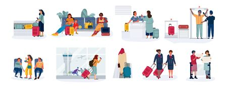 Travelers and tourists. Men and women in airport at check-in, sitting in airplane waiting hall and reclaim area. Vector scenes happy friends and couple beautiful woman with bags waiting trip