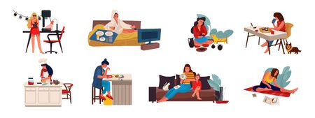 People with hobbies. Flat creative characters cooking playing sewing and doing hobbies at home and outdoor. Vector set illustrations cartoon free women handicrafts working on white background Иллюстрация