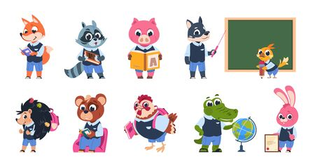 School animal characters. Cute cartoon animal kids at school with books and backpacks reading and studying. Vector isolated coloured imaging abstract funny pupil student set