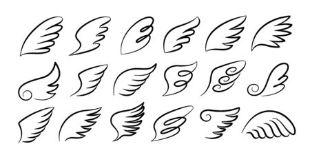 Doodle wings. Cartoon bird feather wings, religious angel wings ink sketch, black tattoo silhouette. Vector hand drawn blade wing sketch set for heraldic symbol emblem on white background