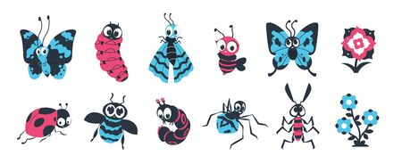 Cute insects. Cartoon bugs with happy face, spider caterpillar butterfly and other colorful characters for vector children illustration. Group funny fly animals in wildlife with flowers 일러스트