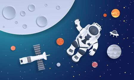 Paper cut space. Astronaut with planets stars and rocket design template, cartoon galaxy in paper style. Vector origami illustration background cosmonaut floating in galaxy Иллюстрация