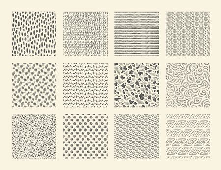 Hand drawn textures. Seamless ink brush repeat patterns with dots strokes grunge and doodle elements. Vector abstract ethnic sketch background set with stripes spots waves Illusztráció