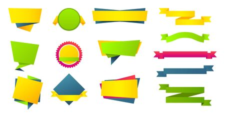 Flat stickers labels banners set. Web origami yellow blue and green tags collection for message. Colorful vector illustration ribbon design for price or text on white background