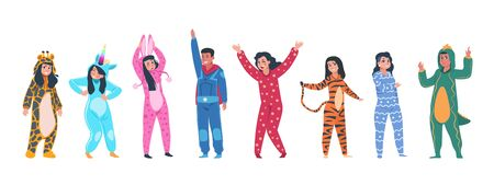 Characters in pajamas. Cartoon men and women in different pajamas, superheroes and animals costumes. Vector illustration pajama party, person in costume set rabbit giraffe superhero unicorn tiger Stok Fotoğraf - 133555608