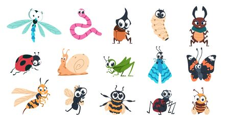 Funny bugs. Cartoon cute insects with faces, caterpillar butterfly bumblebee spider larvae colorful characters. Vector designs illustration smiling creature with eyes for learning children