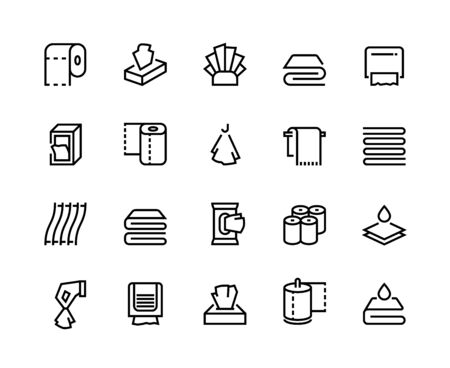 Towels and napkins line icons. Paper tissues bathroom and toilet towel, textile serviette and doily. Vector images blank hand dryer toilet paper rolls line set like kitchen napkin Çizim