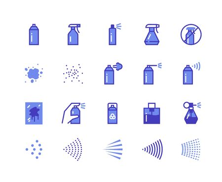 Spray line icons. Cleaning and painting spray flat symbols for labels and logos, spray cans deodorant and perfume. Vector isolated illustration hand pulverizer spraying pattern set