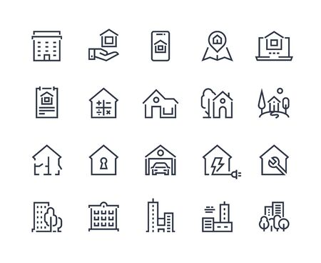 House line icons. Town houses city buildings and constructions, homepage browser interface icons. Vector illustration real estate symbols residential area and homes security key sign set