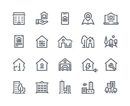 Icônes de ligne de maison. La ville abrite des bâtiments et des constructions de la ville, des icônes d'interface de navigateur de page d'accueil. Illustration vectorielle symboles immobiliers zone résidentielle et ensemble de signes de clé de sécurité des maisons