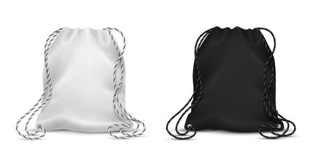 Realistic drawstring bags. Blank black and white backpack mockup for corporate identity, sport pack for accessory. Vector blank template two textile pack for gift or materials