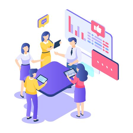 Teamwork isometric concept. Startup creativity business group employees. People work in team goal thinking. Vector illustration meeting professional cooperation young manager