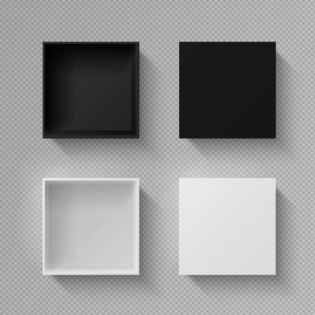 Realistic box top view. Open black blank package mockup on transparent background. Vector image white empty square mysterious container for holiday gift with shadow