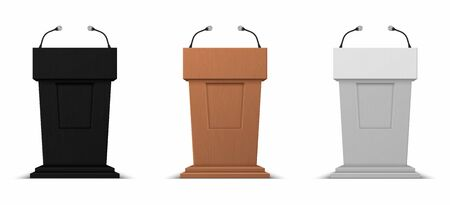 Realistic debate stage. Podium rostrum business presentation stand with microphones. Vector illustration isolated 3D conference speech tribune icons set on white background