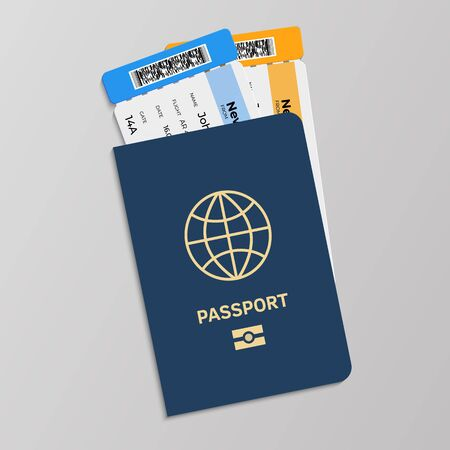 Passport with boarding tickets. Hand drawn isolated blue international document for presentation in airport at customs gate. Vector realistic travel concept vacation departure or return Illusztráció