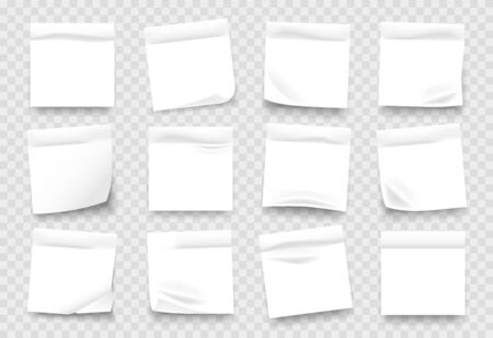 Sticky notes. White notepad sheets with crumpled edges, memos and reminders isolated on transparent background. Vector illustration blank adhesive paper page with shadow for message set Illustration