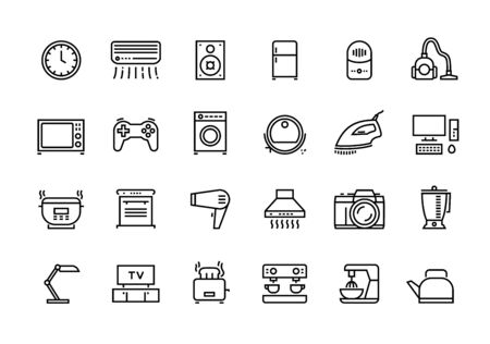 Home appliances line icons. Household electric devices, kitchen equipment and smart utensils. Vector illustration outline TV microwave lamp and other house electronics set for logo services 스톡 콘텐츠 - 133557131