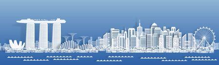 Carta tagliata Singapore. Banner di viaggio con paesaggio urbano, famosi punti di riferimento turistici di Singapore in stile carta. Illustrazione vettoriale edifici della città bianca per poster e biglietti di auguri per i viaggiatori