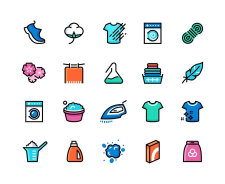 Laundry line icons. Machine and hand wash, sport wool synthetic fabric types, clean and dirty cloth outline symbols. Vector laundry color pictograms set to illustrate the washing and drying process