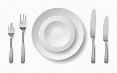 Realistic food plates. White ceramic dish with metal fork, knife, empty restaurant porcelain crockery. Vector isolated illustration mockup dishes with elegant silver cutlery on transparent background 向量圖像