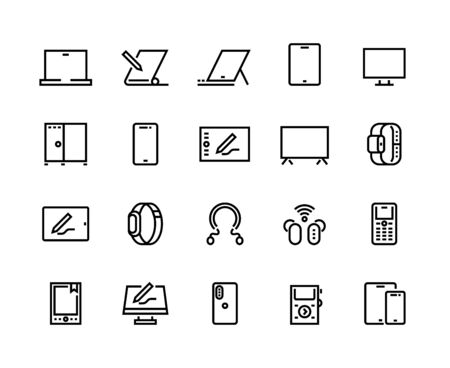 Devices line icons. Desktop computers, electronic devices and wearable gadgets, outline PC and smartphone pictograms. Vector set mobile device monitor laptop, tablet, cellphone, television and other