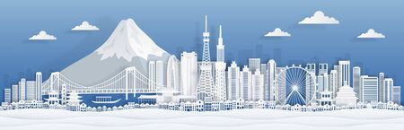Tokyo paper cut. Japan city skyline panorama with famous landmarks and architecture for travel the world poster or postcard. Vector origami land concept cityscape illustration on mountain background