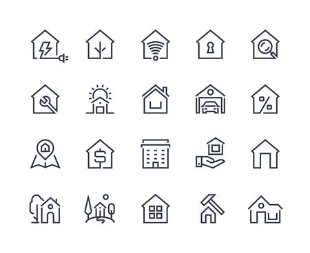 Home line icons. Browser interface button, home page pictogram, houses and city building constructions. Vector real estate set with many design flat architecture pictograms  イラスト・ベクター素材