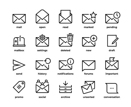 Email line icons. Application UI envelope symbols, create new mail, delete send favorite and notification. Vector illustration outline e-mail set through message in envelope and mailbox
