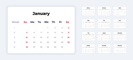 Calendar 2020. New year white template, corporate planner mockup, calendar application UI. Vector weeks and month calendar to print with business and holiday days 일러스트