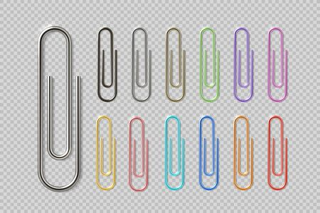 Realistic colorful paper clip set. Metal fasteners notebook holders. Vector illustrations colors steel paperclip for organizing work process Illustration