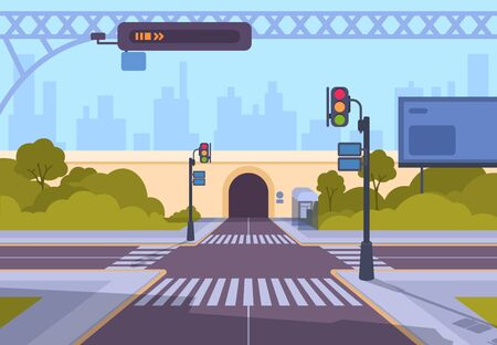 Cartoon crosswalk. City streets intersections with no automobile traffic and pedestrians, urban landscape with crosswalk. Vector illustration empty crossing roads against background of tunnel Ilustração