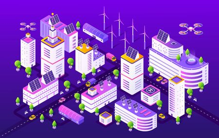 Isometric smart city. Modern futuristic neon town structure, gradient transport and buildings. Vector illustrations colourful night future urban object concept and innovation technology Illustration