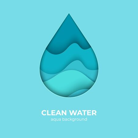Paper cut water drop logo design template. 3D minimal water wave shapes, abstract origami ocean waves. Vector creativity waterdrop with splash save pure nature as an element of eco logo Archivio Fotografico - 134021924