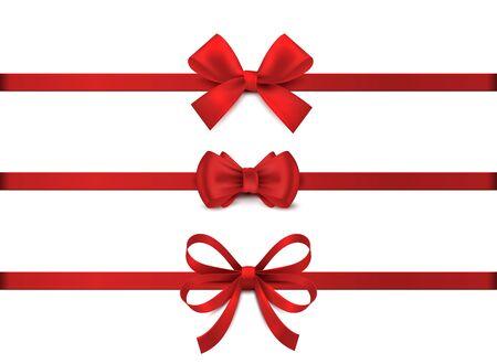 Arco rosso realistico. Collezione di nastri rossi orizzontali. Decorazione regalo di festa, nodo del nastro regalo di San Valentino, set di nastri di vendita lucidi. Illustrazione vettoriale cravatta di Natale per regali su sfondo bianco