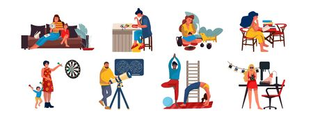 People at home. Cartoon characters relaxing and doing home activities, listening music, cooking reading and playing. Vector illustrations weekend relax with dog, relaxing routines, hobby occupation Иллюстрация