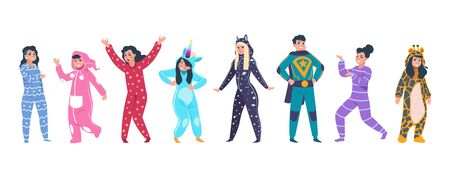 Pajamas characters. Happy cartoon persons in superhero and animal pajamas on evening with hood on pillow party. Vector funny costumes set with unicorn giraffe on white background