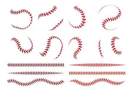 Encaje de pelota de béisbol. Curva esférica y líneas rectas de trazo rojo de pelota de softbol. Elementos gráficos vectoriales para logotipo deportivo y pancartas con objetos blancos de cordones de cuero