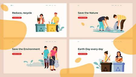 Sorting and recycling landing page. Web site template with trash separation concepts, environmental pollution reduce. Vector set different illustration with garbage containers