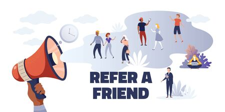 Referral marketing. Creative advertising concept refer friend loyalty program, cartoon promoting characters. Vector concept choice to communicate with consumer audience for colors banner