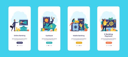 Online banking mobile app. Finance application UI onboard screens with financial concepts and vector cartoon characters. Incoming payment, pay manager and other financial transactions 일러스트
