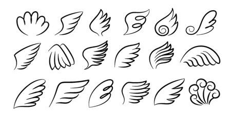 Sketch wings pair. Hand drawn angel wings ink sketch, cartoon bird wings silhouettes. Vector artwork design black feathered wing set for signs and emblem on white background Stock Illustratie