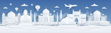 Paper cut India. Travel famous landmarks of India with clouds birds and plane in paper design. Vector banner with city panorama with art illustration landscape mumbai and flight in airplane