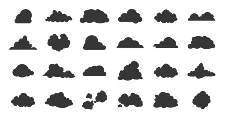 Flat clouds icon. Black spring nature shadow simplicity silhouettes. Vector illustrations various form cloud sky pictogram set on white background for digital technology