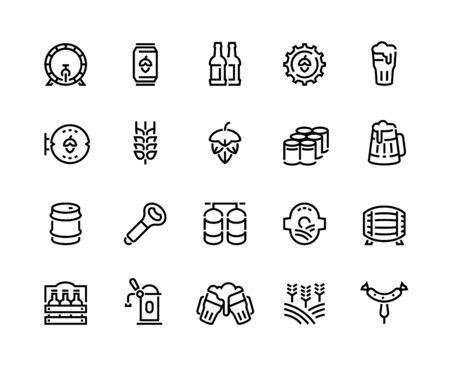 Beer line icons. Glass bottles pack kegs wooden mug and barrel, alcoholic beverages and barley hop drinks. Vector infographic outline bar beer icon set for signboard pub illustration Vecteurs