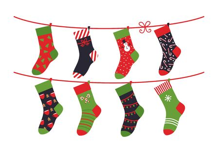 Cartoon socks. Children clothing elements with cute Christmas patterns drying sock collection on rope. Vector illustration winter holidays flat set green colour comfortable clothes