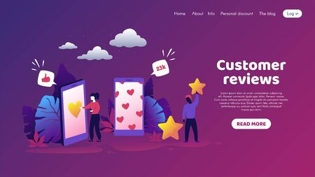 Customers feedback. Trendy concept with cartoon people characters and customers reaction. Vector illustrations like and social media concept satisfaction human review public opinion 일러스트