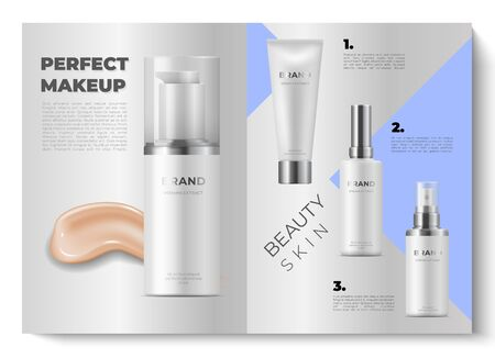 Realistic brochure design. 3d mock up open cosmetic magazines. Beauty catalog. Vector design illustration cosmetics advertise product with bokeh effect on gray background Illusztráció