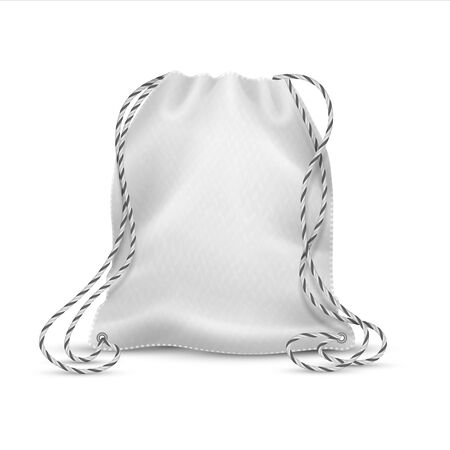 Realistic drawstring bag. White cloth bag with ropes, 3D isolated sport rucksack or accessory pack mockup. Vector illustration template cotton bagged for school shoes to wear on your back